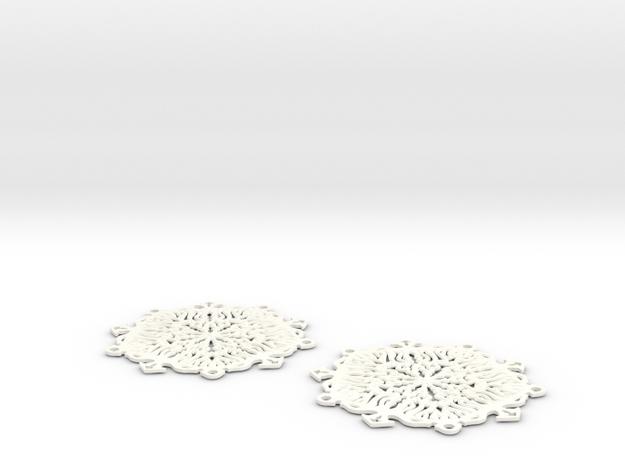 Snow Flake Earrings 3d printed