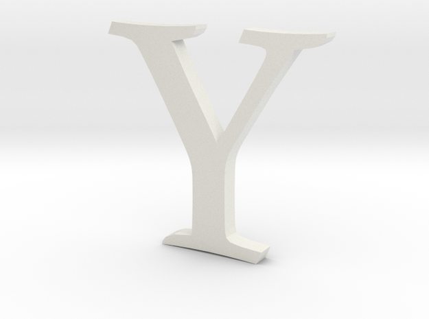 Y (letters series) in White Natural Versatile Plastic