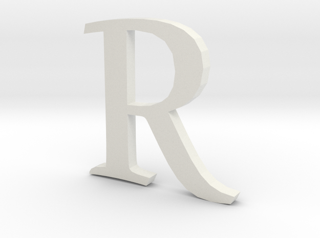 R  (letters series) in White Natural Versatile Plastic