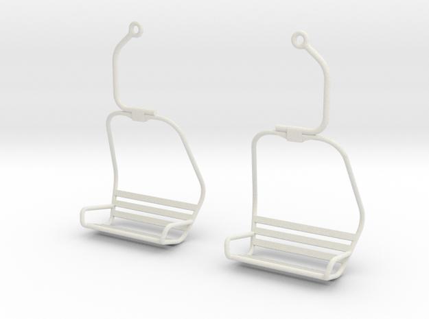 Ski Lift Chair Ear Rings in White Strong & Flexible