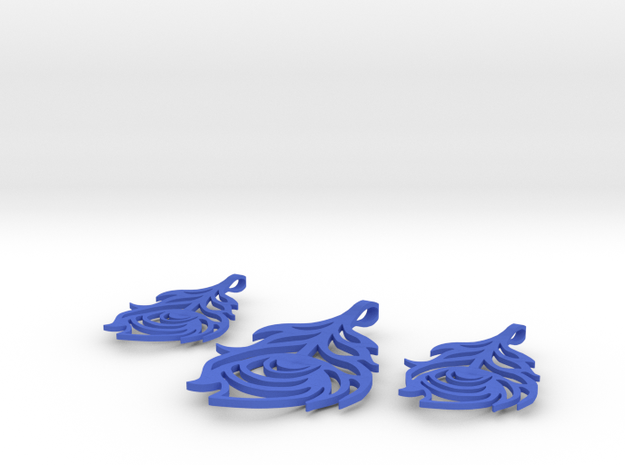 Peacock Feather Pendant/Earrings Set 3d printed