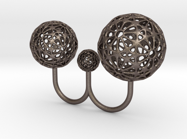IcosaNGring 19 17 in Polished Bronzed Silver Steel