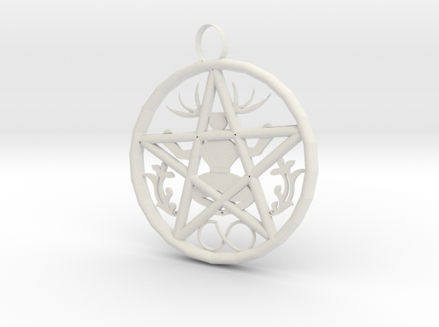 Cernunnos Hex Infinity Pendant  # 2, the Original in White Natural Versatile Plastic