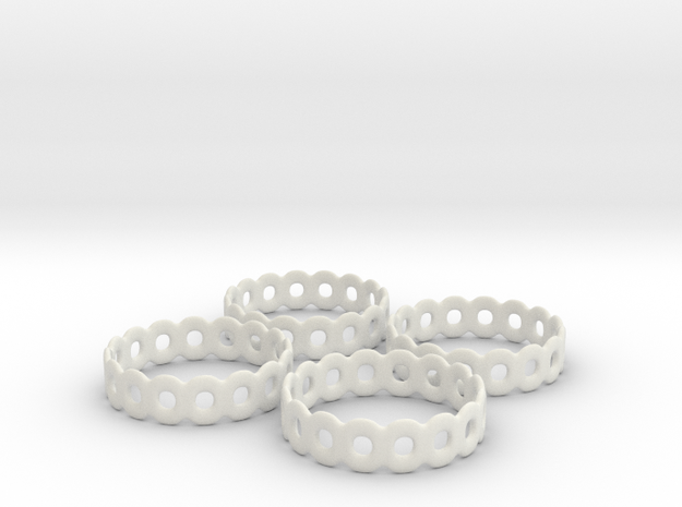 Daisy Chain Napkin Rings (4) in White Natural Versatile Plastic