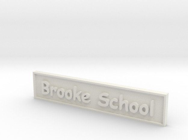 1:24 School Sign in White Natural Versatile Plastic