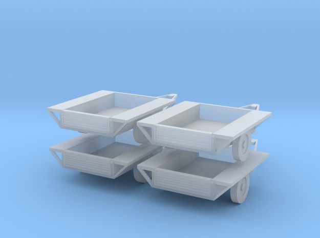 Car Trailers 1:120 in Smooth Fine Detail Plastic