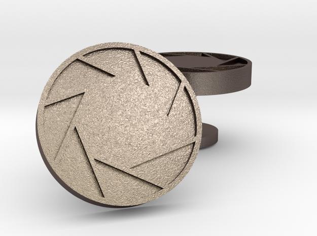 Aperture cufflinks in Polished Bronzed Silver Steel
