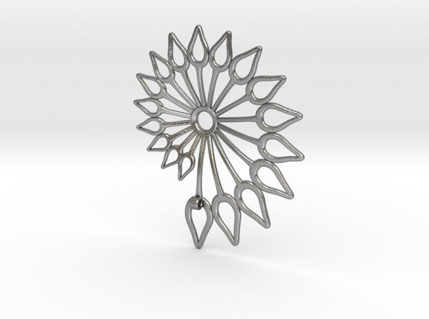 Spiral Flower in Natural Silver