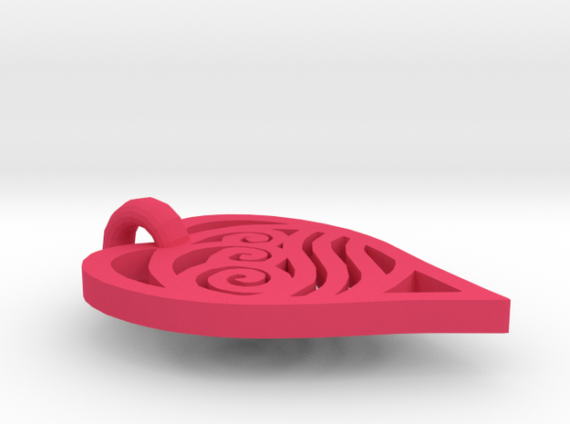waterbending necklace in a heart 3d printed