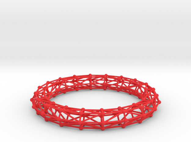 Bangle Bracelet Lattice in Red Processed Versatile Plastic