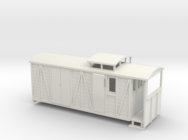 OO9 bogie brake/road van with birdcage (large) 3d printed