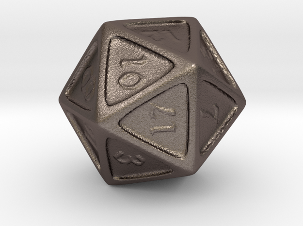D20 in Polished Bronzed Silver Steel