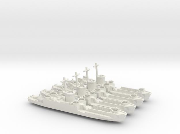 4 Off LCI(L) Late Forward Gun Tub 1/600 Scale 3d printed