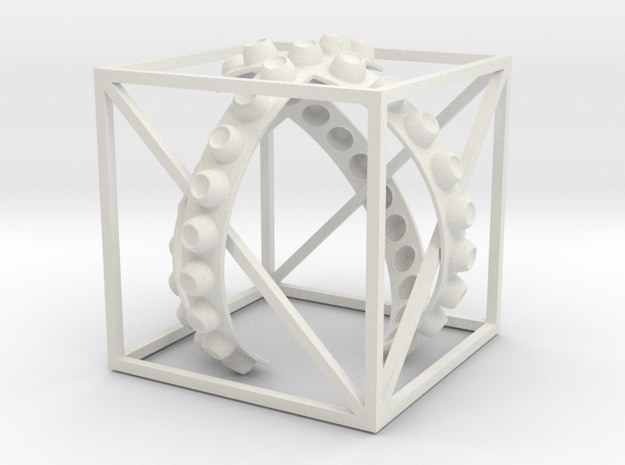 Cube W Ribbons 3IN NoText in White Natural Versatile Plastic