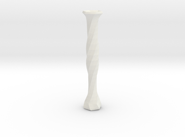 twisted flower tube vase in White Natural Versatile Plastic
