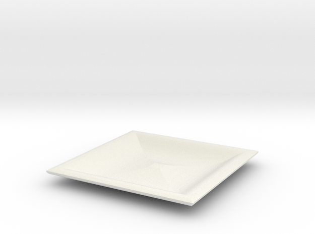 Square red cap plate in White Natural Versatile Plastic
