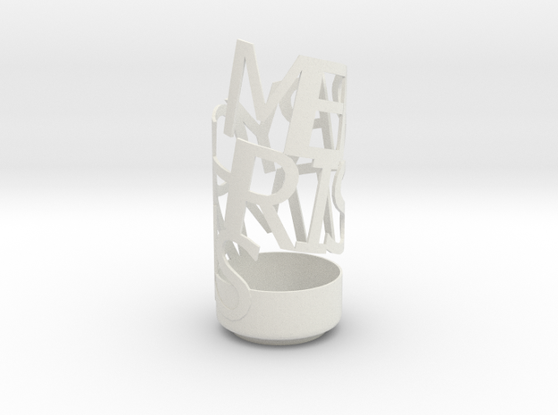 Merry Chrismas pencil holder in White Natural Versatile Plastic