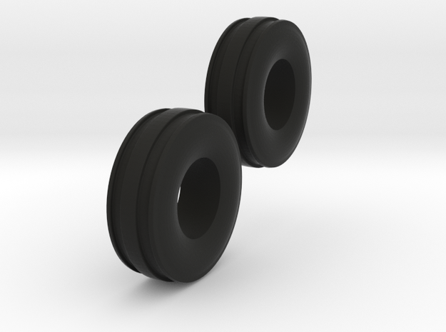 1/64 11L-15 3 Rib Tractor Tires in Black Natural Versatile Plastic