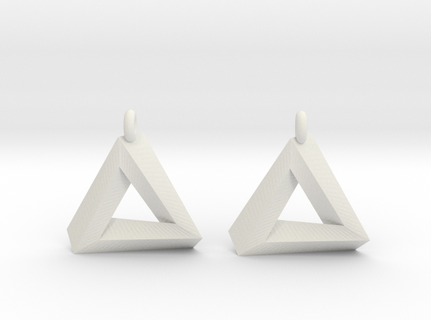Penrose Triangle - Earrings (17mm) in White Natural Versatile Plastic