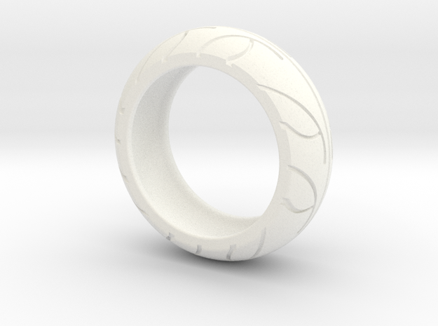 Street Bike Tread Ring Size 10 in White Processed Versatile Plastic