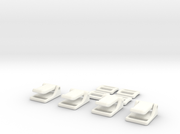 1:7 Scale Seat Belt Parts - Snap Type in White Processed Versatile Plastic