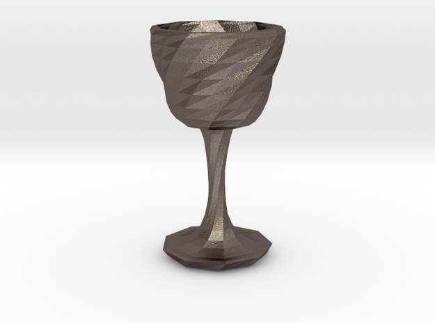 goblet long stem 3 in Polished Bronzed Silver Steel