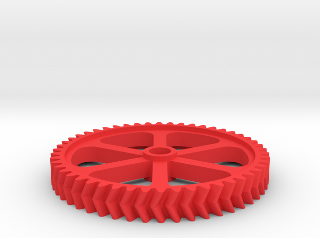 Double Helical Involute Gear M1.5 T50 in Red Strong & Flexible Polished