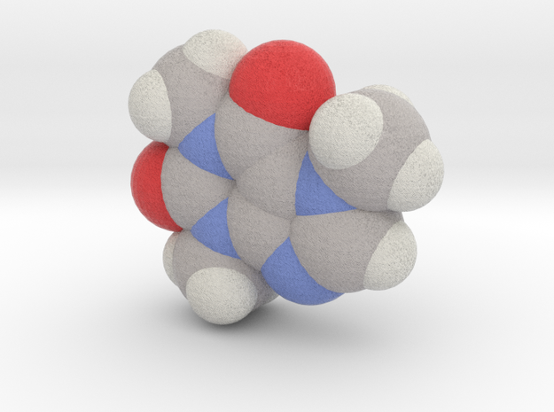 Caffeine molecule (x40,000,000, 1A = 4mm) in Full Color Sandstone