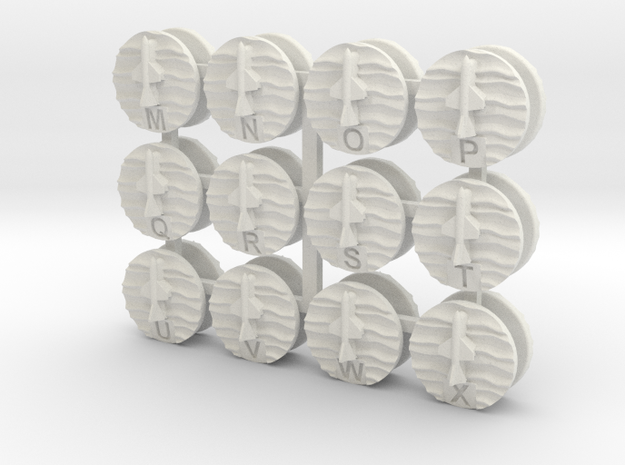07OT01 Labelled Surface-Surface Missiles markers X in White Natural Versatile Plastic