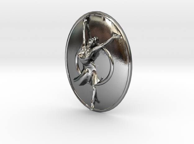 Joyful Dancer Small Pendant with circle background in Polished Silver