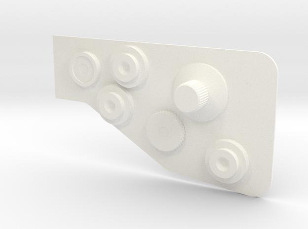 Bowcaster Left Knob Plate in White Processed Versatile Plastic