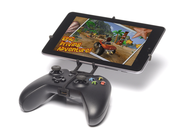 Xbox One controller & Asus Transformer Pad TF300T 3d printed Front View - A Nexus 7 and a black Xbox One controller