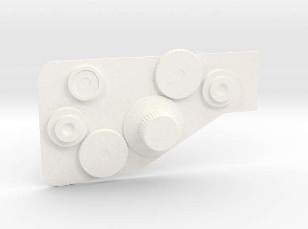 Bowcaster Right Knob Plate in White Processed Versatile Plastic