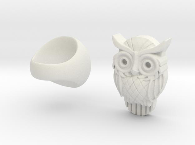 Owl Ring in White Natural Versatile Plastic