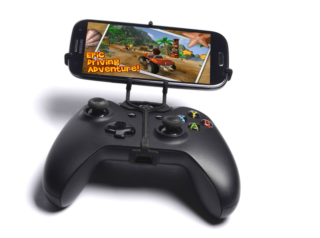 Xbox One controller & Xolo A500 3d printed Front View - A Samsung Galaxy S3 and a black Xbox One controller