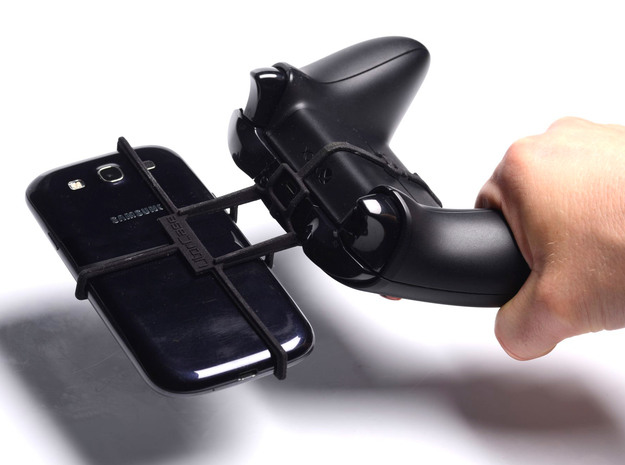 Xbox One controller & Xolo A500 3d printed In hand - A Samsung Galaxy S3 and a black Xbox One controller