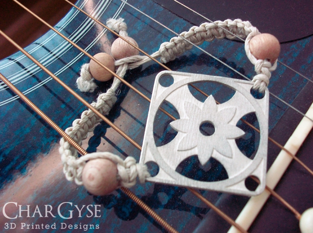 Square Pendant or Charm - Eight Petal Supported in Natural Silver