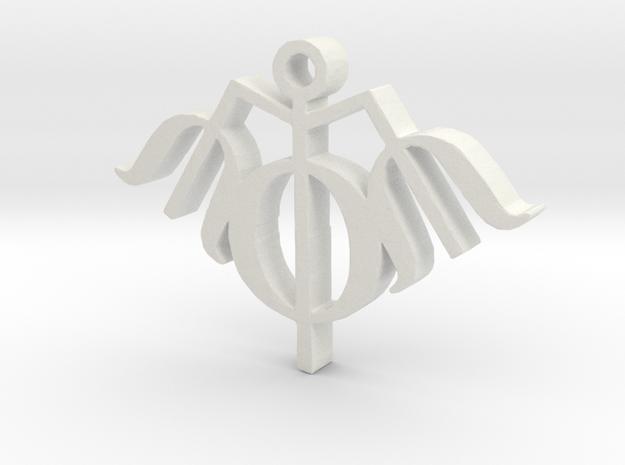 Trishool Necklace Pendant  in White Natural Versatile Plastic