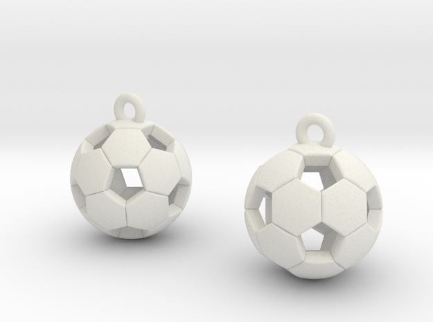 Soccer Balls Earrings in White Natural Versatile Plastic