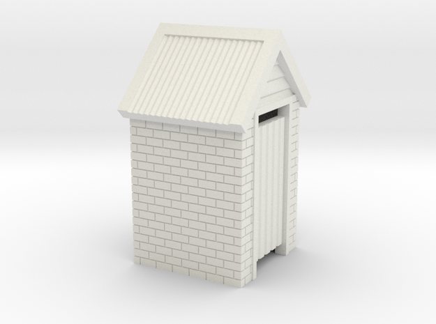 O Scale Brick Outdoor Toilet Dunny 1:48 in White Natural Versatile Plastic
