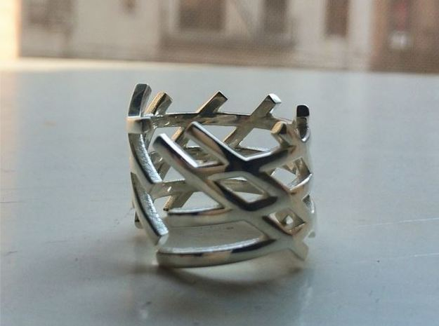 Caged Lines in Polished Silver