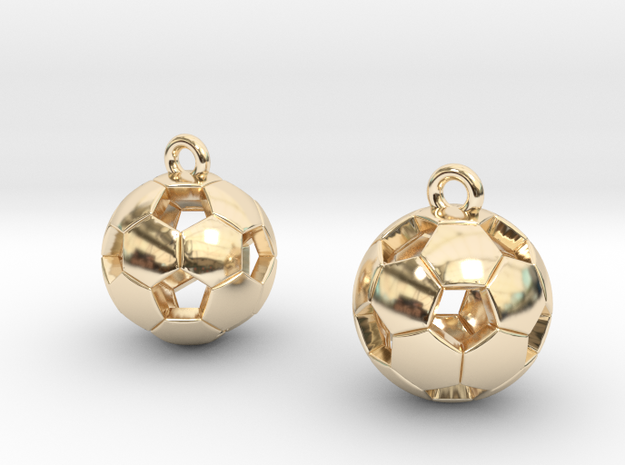 Soccer Balls Earrings in 14K Yellow Gold