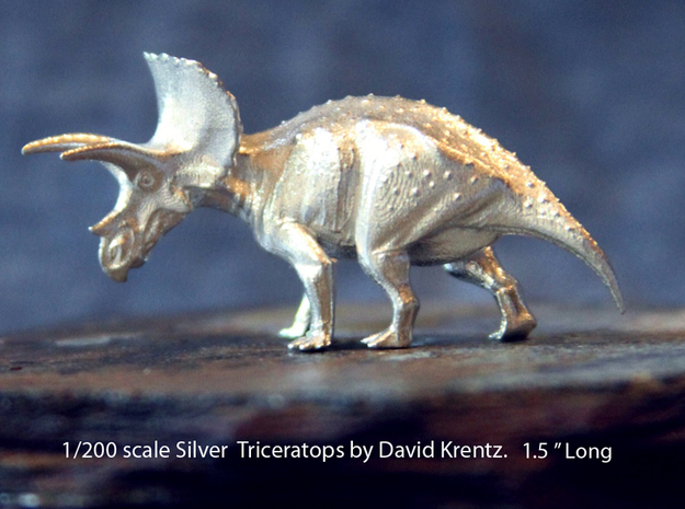 Silver Triceratops by David Krentz 1/200 scale 3d printed