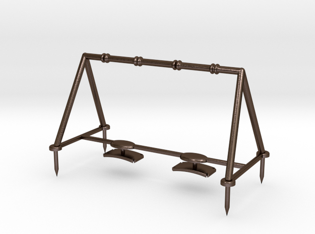 Children's Swings, HO Scale (1:87) in Polished Bronze Steel