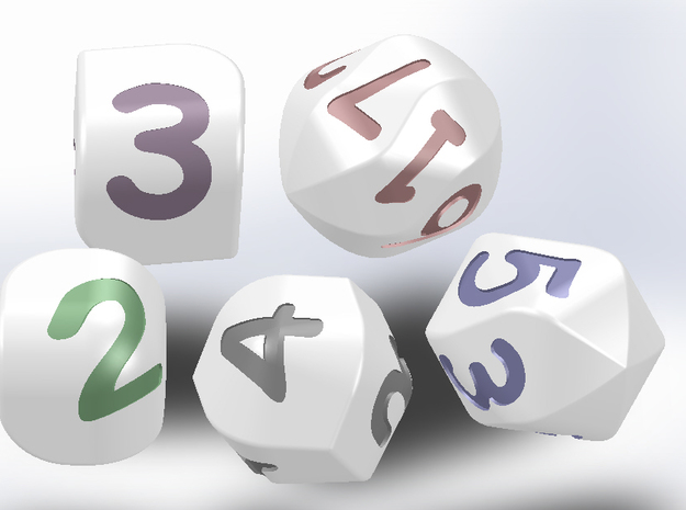 Set of dice with convex faces (digits)