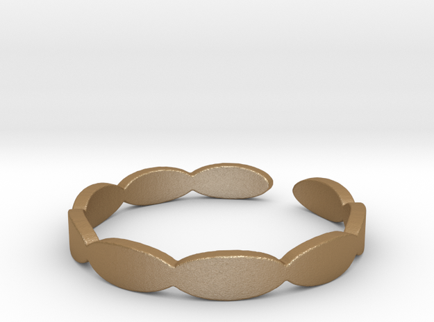Banded Circles (Size 7) in Matte Gold Steel