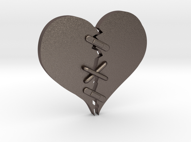 Fixed Heart  in Polished Bronzed Silver Steel
