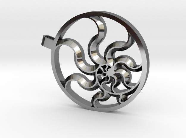 Fibonacci Sun in Fine Detail Polished Silver