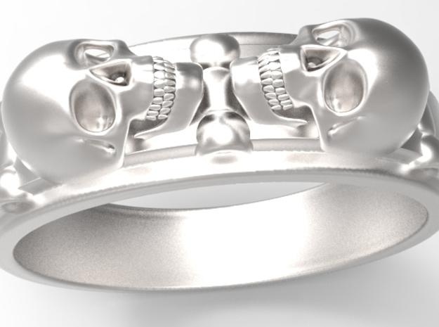 skullring - two skulls 3d printed