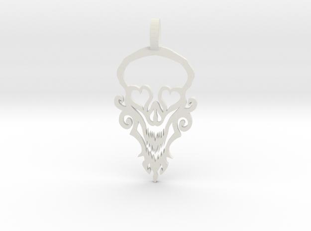 Happy Skull in White Natural Versatile Plastic